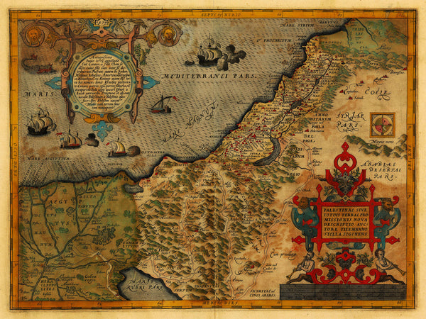 Holy Land, 1579, Palestinae, Ortelius, Antique Map