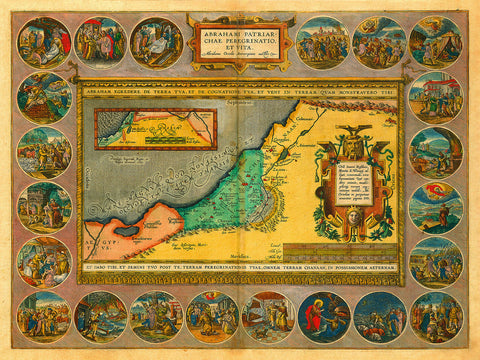 Holy Land, Abraham's Life & Travels, Antique Map