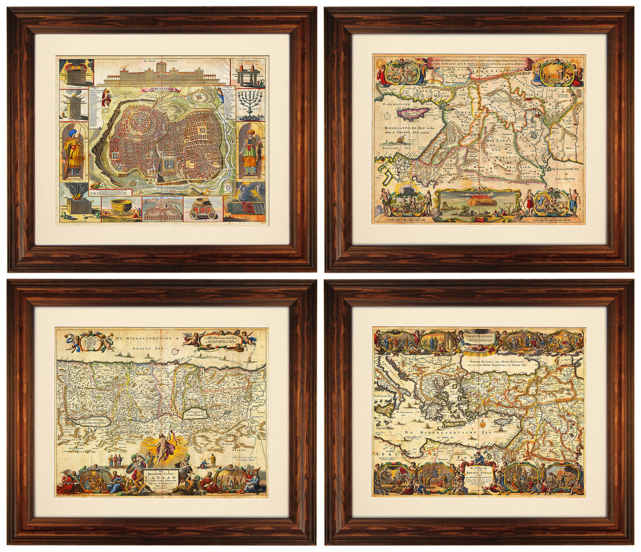 Set of 4 Biblical Maps of the Holy Land & Jerusalem, Framed