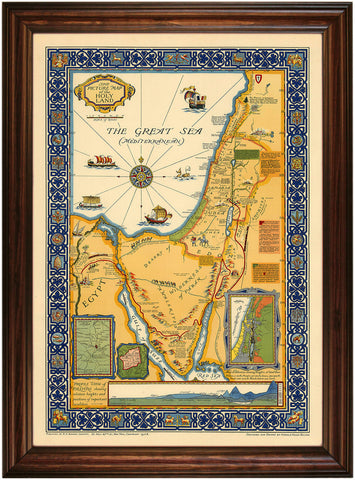 Holy Land, Beautiful Vintage Large Pictorial Map, Framed