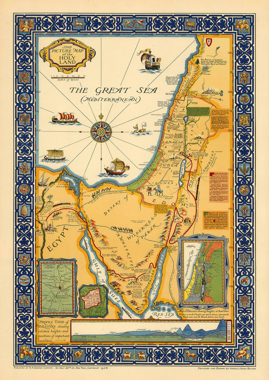 holy land beautiful vintage large pictorial map. beautiful large pictorial map of the holy land  battlemapsus