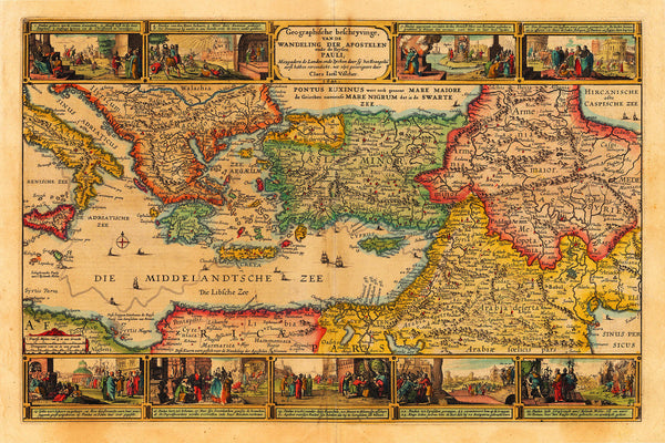 Holy Land, St. Paul's Travels, Mediterranean, Antique Map