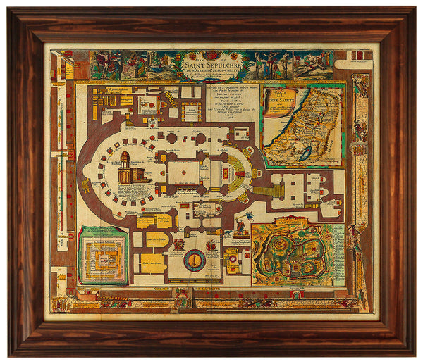 Holy Sepulchre of Christ, Jerusalem, Antique Plan, Framed