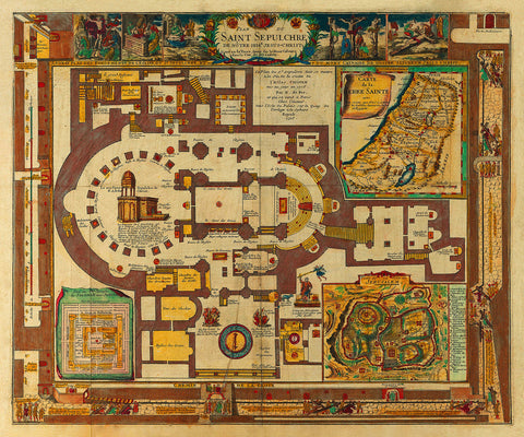 Holy Sepulchre of Christ, Jerusalem, Israel, Antique Plan