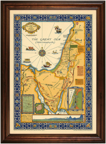 Holy Land, Beautiful  Vintage Large Pictorial Map