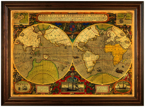 World, 1595, Vera Totivs, Drake, Hondius, Antique Map, Framed