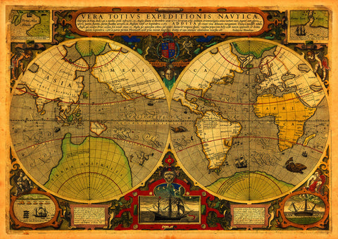 World, 1595, Vera Totivs, Francis Drake, Hondius, Antique Map