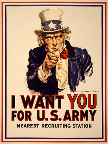 I Want You For U.S. Army, 1917, WWI Uncle Sam Poster, Flagg