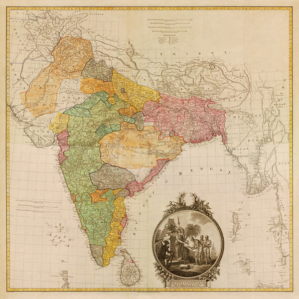 India, 1782, Hindoostan, Hindustan, Antique Map