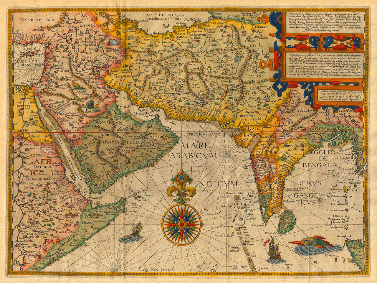 Map Of Asia India.Indian Ocean 1596 Asia India Linschoten Antique Map