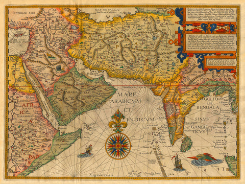 Indian Ocean, 1596, Asia, India, Linschoten, Antique Map