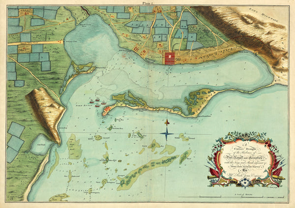 Caribbean, 1756, Kingston, Port Royal, Jamaica, Antique Map