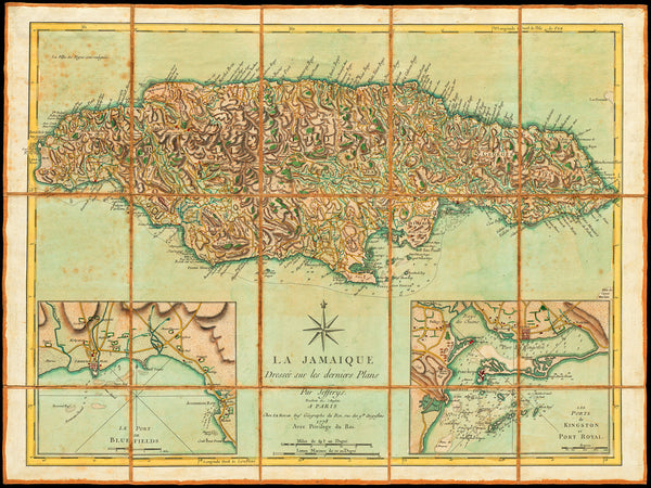 Caribbean, 1778, Jamaica, La Jamaique, Kingston, Port Royal, Old Map