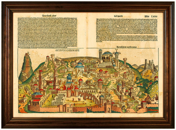 Jerusalem, 1493, Nuremberg Chronicle, Liber Chronicarum, Antique Map, Framed