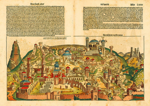 Jerusalem, 1493, Nuremberg Chronicle, Liber Chronicarum, Antique Map