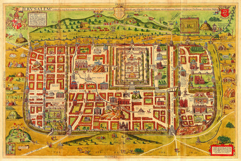 Jerusalem at the Time of Christ, 1584, Braun & Hogenberg Map (II)