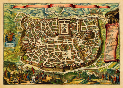 Jerusalem in Biblical Times, English Edition, Antique Map