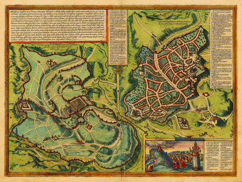 Jerusalem Old and New, 1582, Braun & Hogenberg Map