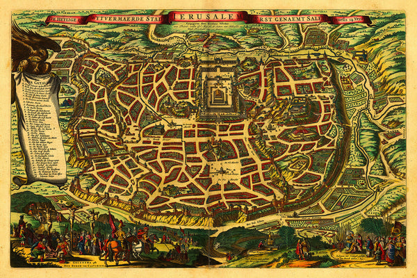 Jerusalem in Biblical Times, Visscher, 1643, Antique Map