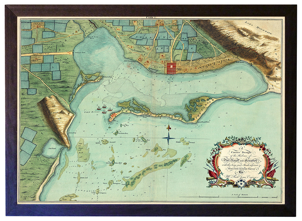 Antique map of kingston jamaica and harbour framed caribbean 1756 kingston port royal jamaica framed map gumiabroncs Gallery