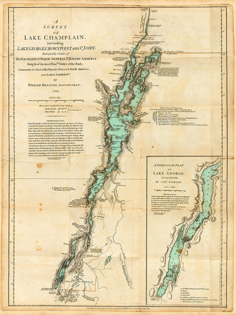 Map of Lake Champlain & Lake George, New York, 1776 | Battlemaps.us