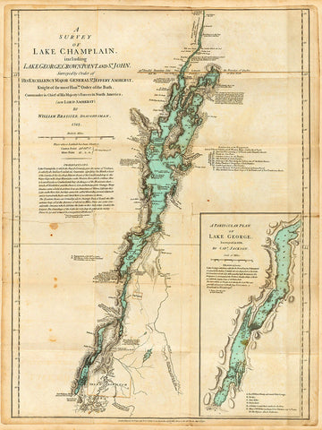 New York, 1776, Lake Champlain, Lake George, Valcour Island, Revolutionary War Map