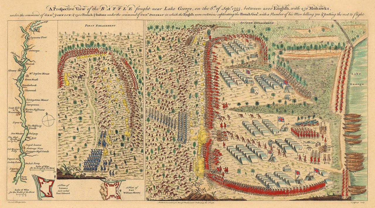 Battle Of Lake George 1755 1756 Blodget Map French