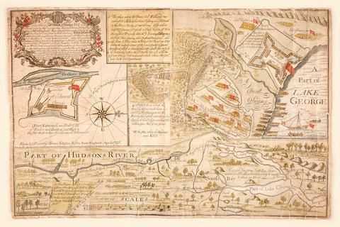 New York, 1756, Battle of Lake George Map, French & Indian War