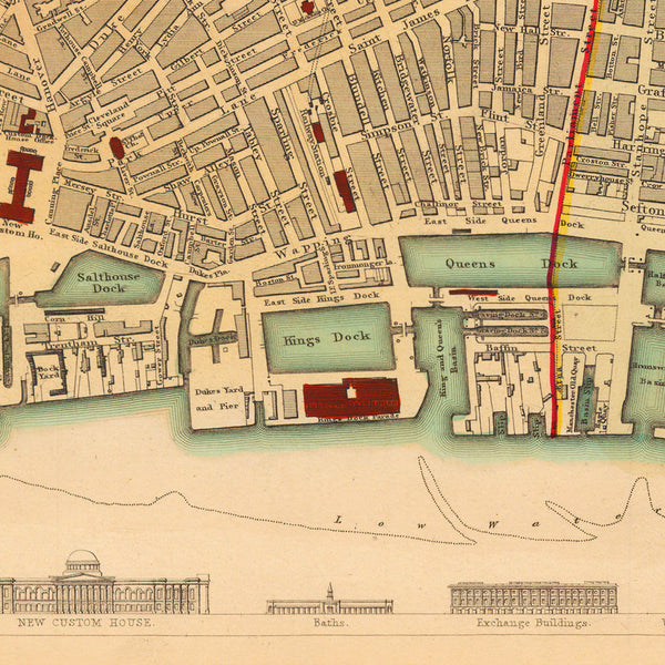 Liverpool, 1836, S.D.U.K. Antique Map