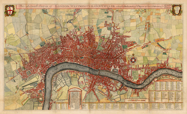 London, 1700, Westminster, Southwark, Antique Map