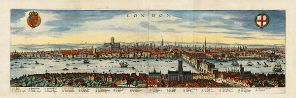 London, 1600s, Panoramic View, Framed