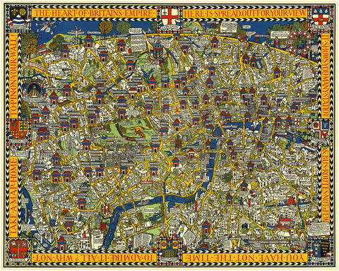 London, 1914, Wonderground Map, MacDonald Gill