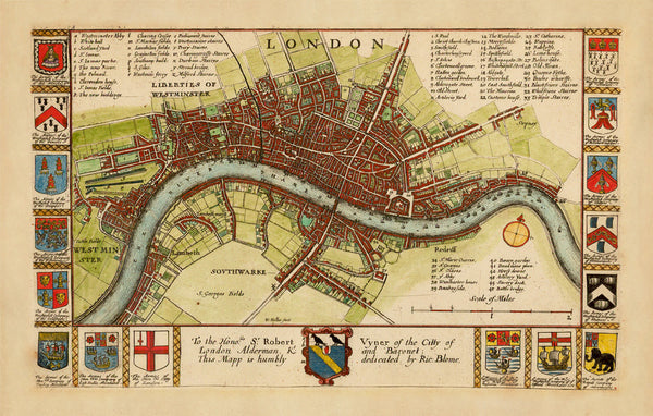London, 1667, City Plan pre-1666, Hollar, Blome