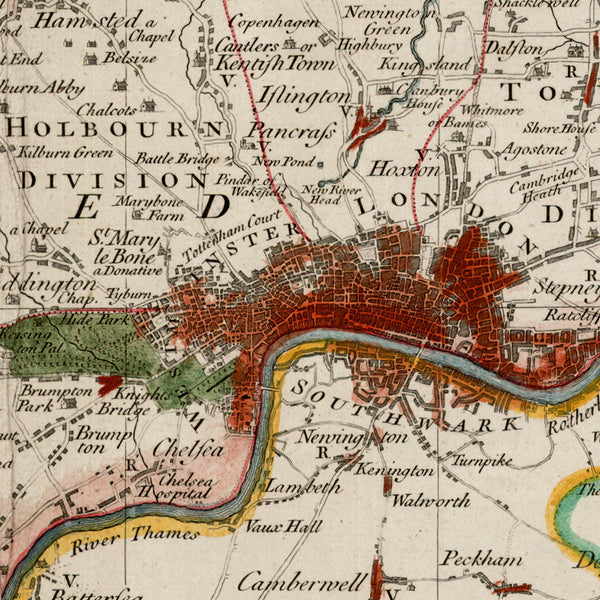 London, 1750, Middlesex, Seale, Antique Map