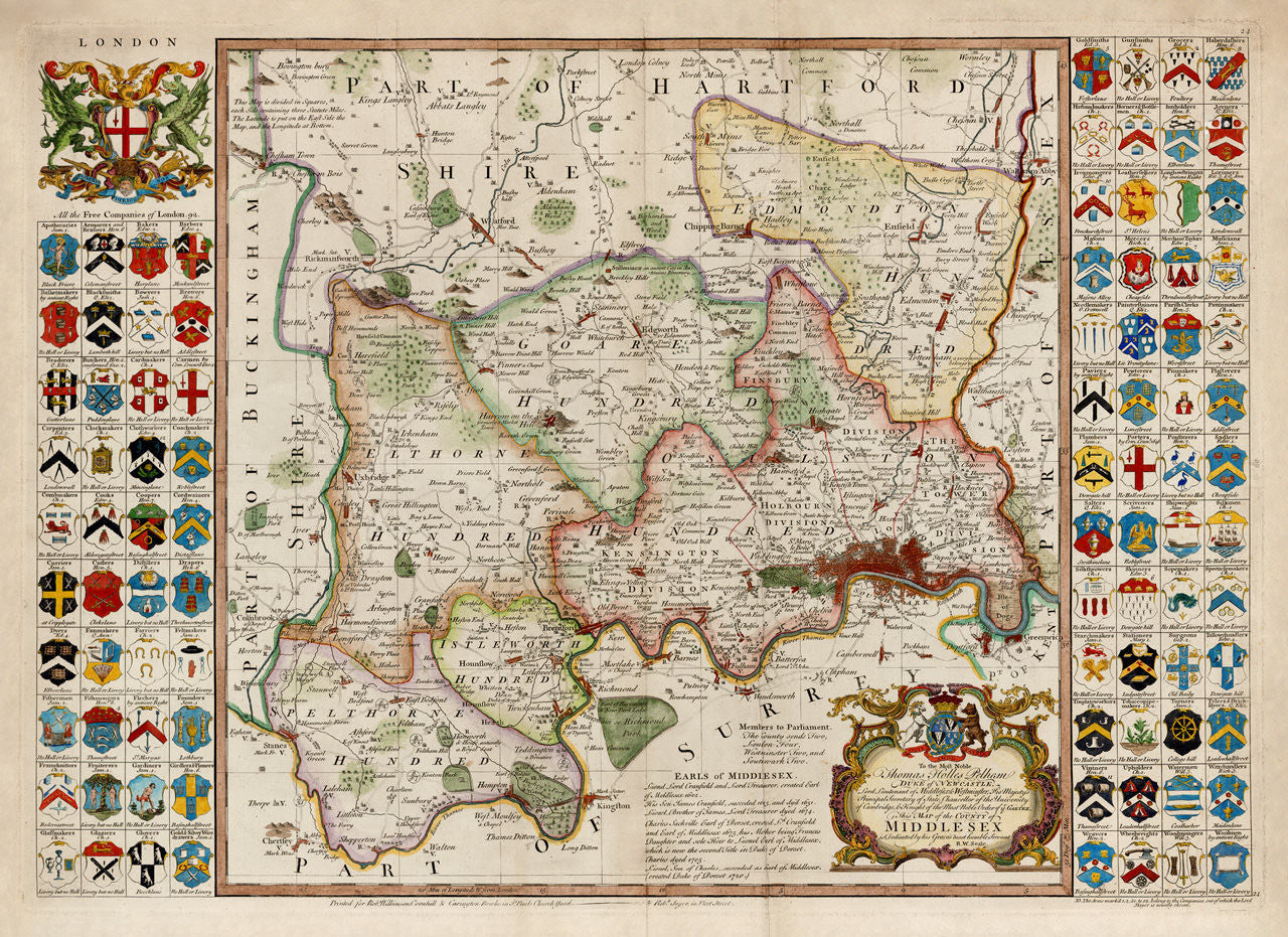 London 1750 Middlesex Seale Old Map Battlemapsus