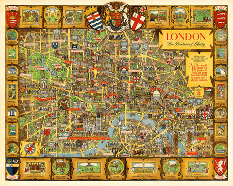 London, Bastion of Liberty, Vintage Pictorial Map