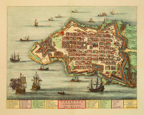 Malta, 1705, Valletta, Valete Ville Forte, Blaeu, Mortier, Old Map