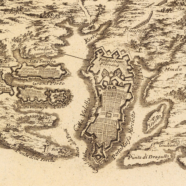 Malta, 1722, L'Isle de Malthe, Knights of St. John, Grand Masters, de Fer Map (II)