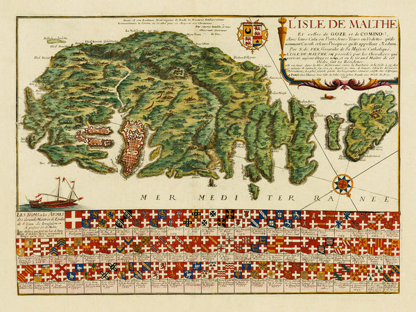 Malta, 1722, L'Isle de Malthe, Knights of St. John, Grand Masters, de Fer Map