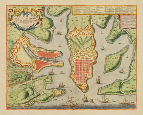 Malta, 1723, Plan de la Ville, Valletta & Harbour, de Fer, Danet, Old Map (I)