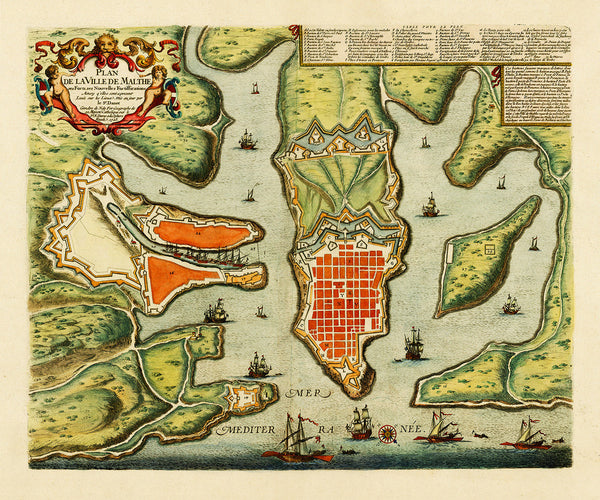 Malta, 1723, Plan de la Ville, Valletta & Harbour, de Fer, Danet, Old Map (II)