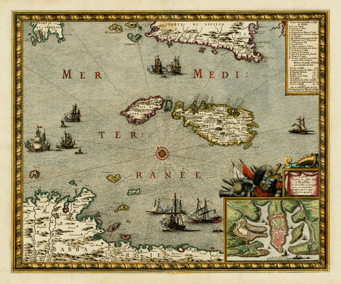 Malta, 1723, Carte & Plan de L'isle de Malthe, Danet, Old Map