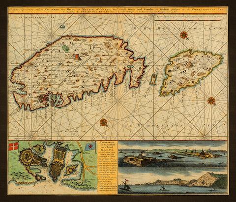 Malta, 1734, Chart, Plan & Views, Fortifications, Keulen Map