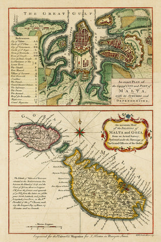 Malta, 1761, Plan of Valletta, Map of Malta, Knights of St. John