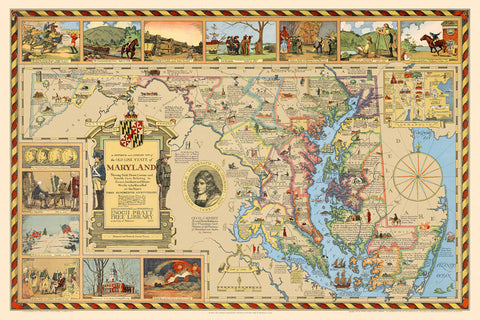 Maryland, 1631–1931, Pictorial Historical & Literary Map