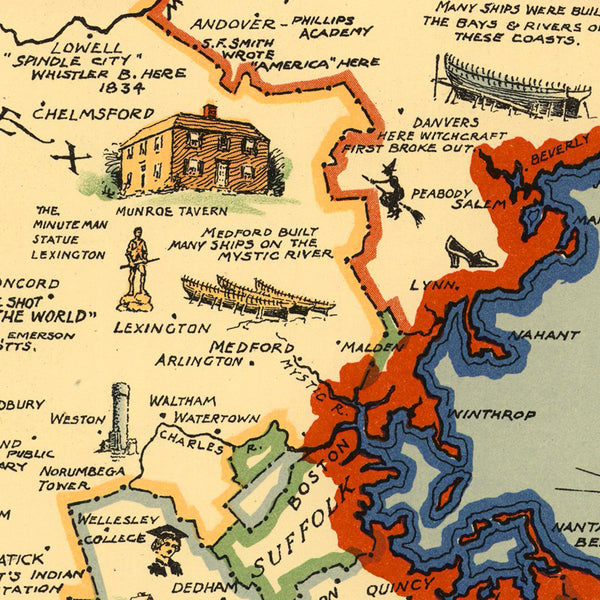Massachusetts, 1630–1930, Pictorial Historical Map
