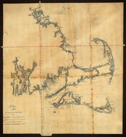 Massachusetts, 1775, Cape Cod, Nantucket, Martha's Vineyard, Manuscript Map