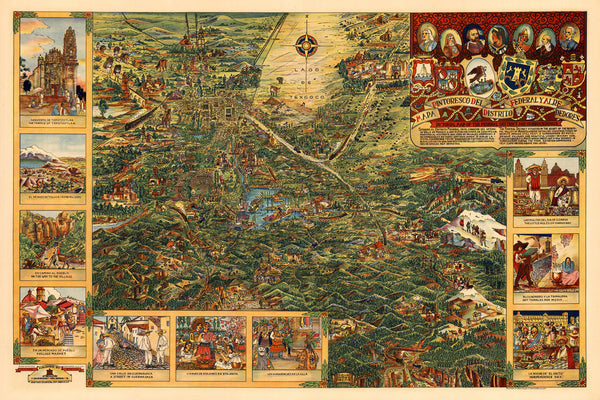 Mexico, 1930, Mexico City, Distrito Federal, Valley of Mexico, Vintage Pictorial Map