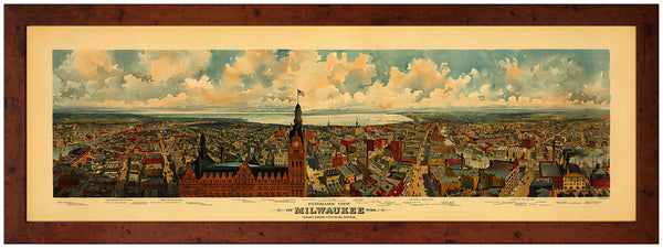 Milwaukee, 1898, Panoramic Bird's Eye View, Framed