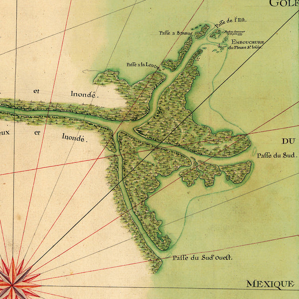 Mississippi River Delta, 1732, New Orleans, Old French Map